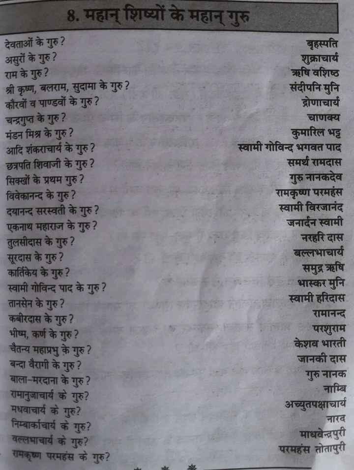 #🌹🏨जनरल knowladge # - 8 . महान् शिष्यों के महान् गुरु देवताओं के गुरु ? असुरों के गुरु ? राम के गुरु ? श्री कृष्ण , बलराम , सुदामा के गुरु ? कौरवों व पाण्डवों के गुरु ? चन्द्रगुप्त के गुरु ? मंडन मिश्र के गुरु ? ' आदि शंकराचार्य के गुरु ? छत्रपति शिवाजी के गुरु ? सिक्खों के प्रथम गुरु ? विवेकानन्द के गुरु ? दयानन्द सरस्वती के गुरु ? एकनाथ महाराज के गुरु ? तुलसीदास के गुरु ? सूरदास के गुरु ? कार्तिकेय के गुरु ? स्वामी गोविन्द के गुरु ? तानसेन के गुरु ? कबीरदास के गुरु ? भीष्म , कर्ण के गुरु ? चैतन्य महाप्रभु के गुरु ? बन्दा वैरागी के गुरु ? बाला - मरदाना के गुरु ? रामानुजाचार्य के गुरु ? मधवाचार्य के गुरु ? निम्बार्काचार्य के गुरु ? वल्लभाचार्य के गुरु ? रामकृष्ण परमहंस के गुरु ? बृहस्पति शुक्राचार्य ऋषि वशिष्ठ संदीपनि मुनि द्रोणाचार्य चाणक्य कुमारिल भट्ट स्वामी गोविन्द भगवत समर्थ रामदास गुरु नानकदेव रामकृष्ण परमहंस स्वामी विरजानंद जनार्दन स्वामी नरहरि दास बल्लभाचार्य समुद्र ऋषि भास्कर मुनि स्वामी हरिदास रामानन्द परशुराम केशव भारती जानकी दास गुरुनानक - नाम्बि अच्युतपक्षाचार्य नारद माधवेन्द्रपुरी परमहंस तोतापुरी - ShareChat