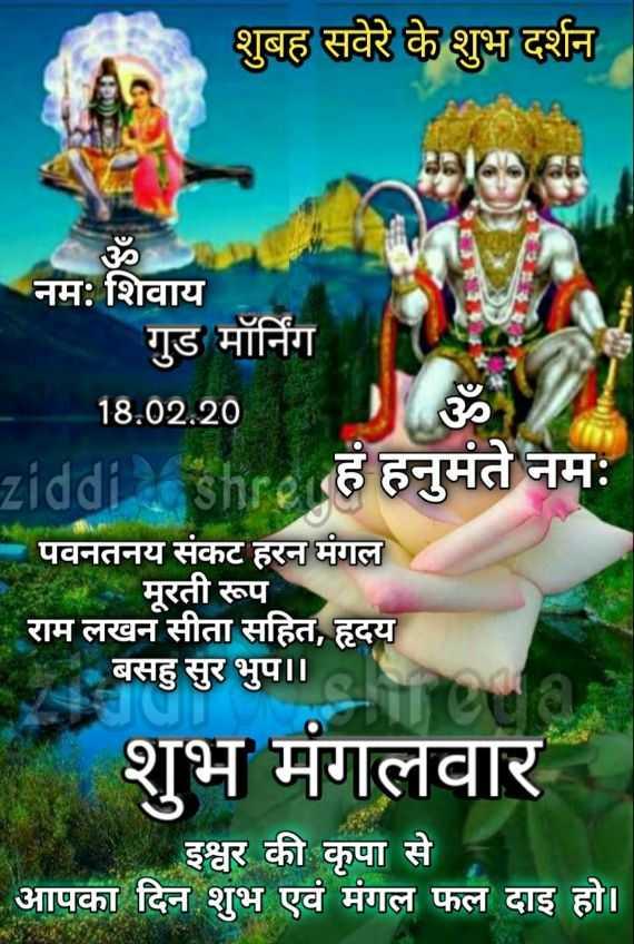 🙏🌺जय बजरंगबली🌺🙏 - शुबह सवेरे के शुभ दर्शन नमः शिवाय गुड मॉर्निंग 18 . 02 . 20 ziddiashre हं हनुमते नमः पवनतनय संकट हरन मंगल मूरती रूप राम लखन सीता सहित , हृदय बसहु सुर भुप । । शुभ मंगलवार इश्वर की कृपा से आपका दिन शुभ एवं मंगल फल दाइ हो । - ShareChat