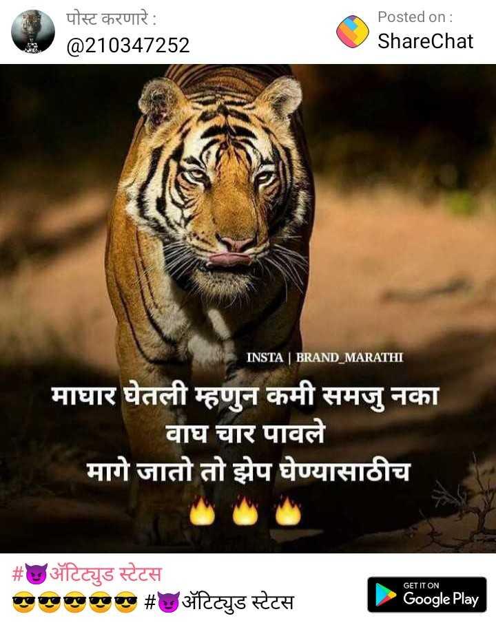 🙏जय महाराष्ट्र - पोस्ट करणारे : @ 210347252 Posted on : ShareChat Share Chat INSTA BRAND MARATHI माघार घेतली म्हणुन कमी समजू नका वाघ चार पावले मागे जातो तो झेप घेण्यासाठीच   # अॅटिट्युड स्टेटस एण्णा # अॅटिट्युड स्टेटस GET IT ON Google Play - ShareChat