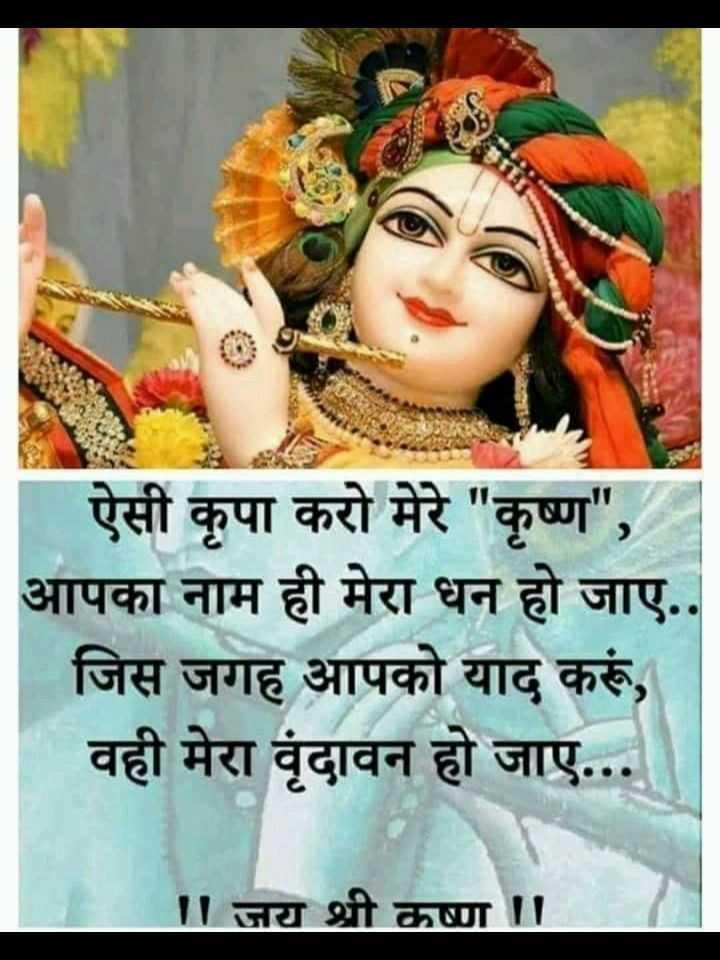 🌸 जय श्री कृष्ण - ऐसी कृपा करो मेरे कृष्ण , आपका नाम ही मेरा धन हो जाए . . जिस जगह आपको याद करूं , वही मेरा वृंदावन हो जाए . . . ॥ जय श्री कष्ण - ShareChat