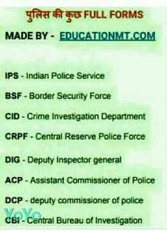 😃जानिए फुल फॉर्म - पुलिस की कुछ FULL FORMS MADE BY - EDUCATIONMT . COM IPS - Indian Police Service BSF - Border Security Force CID - Crime Investigation Department CRPF - Central Reserve Police Force DIG - Deputy Inspector general ACP - Assistant Commissioner of Police DCP - deputy commissioner of police C6 ! - Central Bureau of Investigation - ShareChat