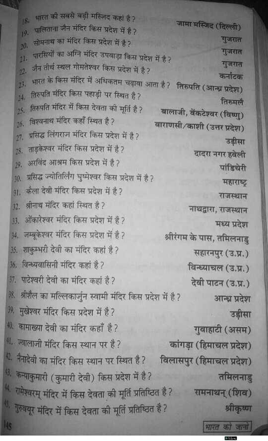 📢जॉब्स/एग्जाम नोटिस बोर्ड - भारत की सबसे बड़ी मस्जिद कहां है ? जामा मस्जिद ( दिल्ली ) पालिताना जैन मंदिर किस प्रदेश में है । सोमनाथ का मंदिर किस प्रदेश में है ? गुजरात गुजरात पारसियों का अग्नेि मंदिर उपवाड़ा किस प्रदेश में है ? गुजरात जैन तीर्थ स्थल गोमतेश्वर किस प्रदेश में है ? कर्नाटक रत के किस मंदिर में अधिकतम चढ़ावा आता है ? तिरुपति ( आन्ध्र प्रदेश ) तिरुपति मंदिर किस पहाड़ी पर स्थित है ? तिरुमलै तिरुपति मंदिर में किस देवता की मूर्ति है ? बालाजी , वेंकटेश्वर ( विष्ण ) 26 . विश्वनाथ मंदिर कहाँ स्थित है ? वाराणसी / काशी ( उत्तर प्रदेश ) 27 . प्रसिद्ध लिंगराज मंदिर किस प्रदेश में है ? उड़ीसा 28 . ताड़केश्वर मंदिर किस प्रदेश में है ? दादरा नगर हवेली 29 . अरविंद आश्रम किस प्रदेश में है ? पांडिचेरी 30 . प्रसिद्ध ज्योतिर्लिंग घुष्मेश्वर किस प्रदेश में है ? महाराष्ट्र 31 . कैला देवी मंदिर किस प्रदेश में है ? राजस्थान 32 . श्रीनाथ मंदिर कहां स्थित है ? नाथद्वारा , राजस्थान 133 . ओंकारेश्वर मंदिर किस प्रदेश में है ? मध्य प्रदेश 34 , जम्बूकेश्वर मंदिर किस प्रदेश में है ? श्रीरंगम के पास , तमिलनाडु 135 . शाकुम्भरी देवी का मंदिर कहां है ? सहारनपुर ( उ . प्र . ) 36 , विन्ध्यवासिनी मंदिर कहां है ? विन्ध्याचल ( उ . प्र . ) 37 . पाटेश्वरी देवी का मंदिर कहां है ? देवी पाटन ( उ . प्र . ) 38 . श्रीशैल का मल्लिकार्जुन स्वामी मंदिर किस प्रदेश में है ? आन्ध्र प्रदेश 139 , मुखेश्वर मंदिर किस प्रदेश में है ? उड़ीसा 40 . कामाख्या देवी का मंदिर कहाँ है ? गुवाहाटी ( असम ) 41 . ज्वालाजी मंदिर किस स्थान पर है ? कांगड़ा ( हिमाचल प्रदेश ) 2 . नैनादेवी का मंदिर किस स्थान पर स्थित है ? विलासपुर ( हिमाचल प्रदेश ) ७ . कन्याकुमारी ( कुमारी देवी ) किस प्रदेश में है ? तमिलनाडु रामेश्वरम् मंदिर में किस देवता की मूर्ति प्रतिष्ठित है ? रामनाथन् ( शिव ) . गुरुवयूर मंदिर में किस देवता की मूर्ति प्रतिष्ठित है ? श्रीकृष्ण भारत को जानो 45 - ShareChat