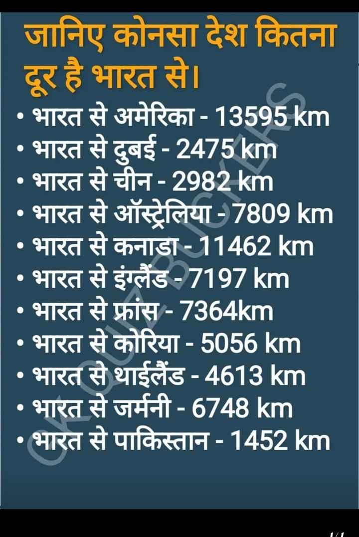📢जॉब्स/एग्जाम नोटिस बोर्ड - जानिए कोनसा देश कितना दूर है भारत से । • भारत से अमेरिका - 13595 km • भारत से दुबई - 2475 km • भारत से चीन - 2982km • भारत से ऑस्ट्रेलिया - 7809 km • भारत से कनाडा - 11462 km • भारत से इंग्लैंड - 7197km • भारत से फ्रांस - 7364km • भारत से कोरिया - 5056 km • भारत से थाईलैंड - 4613 km • भारत से जर्मनी - 6748 km • भारत से पाकिस्तान - 1452 km - ShareChat