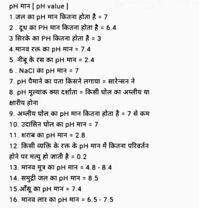 📝जॉब/एग्जाम प्रिपरेशन - PH मान [ pH value ] 1 . जल का pH मान कितना होता है - 7 2 . दूध का PH मान कितना होता है = 6 . 4 3 सिरके का PH कितना होता है = 3 4 . मानव रक्त का pH मान = 7 . 4 5 . नीबू के रस का pH मान = 2 . 4 6 . NaCl का pH मान = 7 7 . p पैमाने का पता किसने लगाया = सारेन्सन ने 8 . pH मूल्यांक क्या दर्शाता = किसी घोल का अम्लीय या क्षारीय होना 9 . अम्लीय घोल का pH मान कितना होता है % 7 से कम 10 . उदासिन घोल का pH मान = 7 11 . शराब का pH मान = 2 . 8 12 . किसी व्यक्ति के रक्त के pH मान में कितना परिवर्तन होने पर मत्यु हो जाती है = 0 . 2 13 . मानव मूत्र का pH मान = 4 . 8 - 8 . 4 14 . समुद्री जल का pH मान = 8 . 5 15 . आँसू का pH मान = 7 . 4 16 . मानव लार का pH मान = 6 . 5 . 7 . 5 - ShareChat