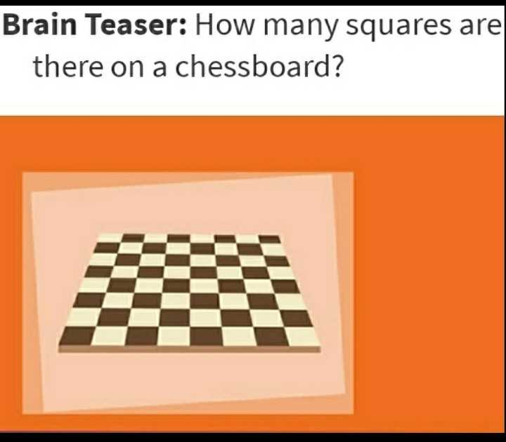 📝जॉब/एग्जाम प्रिपरेशन - Brain Teaser : How many squares are there on a chessboard ? - ShareChat