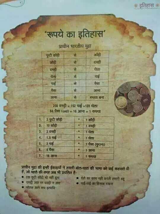 📝जॉब/एग्जाम प्रिपरेशन - * इतिहास * ' रूपये का इतिहास फूटी कौड़ी प्राचीन भारतीय मुद्रा कोही कोही दमड़ी दमड़ी घेला घेला पैसा पैसा आना नमक पाई पाई आना रुपया बना 256 दमड़ी = 192 पाई - 128 घेला 84 पैसा ( old ) 3D16 आना = 1 रुपया 1 . 3 फूटी कौड़ी कौड़ी 2 . 10 कोही 11 . 2 दमड़ी 14 . 15 पाई 1घेला 15 . 3 पाई 1 पैसा ( पुराना ) 16 . 4 पैसा 1आना 7 . 16 आना रुपया प्राचीन मुद्रा की इन्ही ईकाइयों ने हमारी बोल - चाल की भाषा को कई कहावतें दी है , जो पहले की तरह अब भी प्रचलित है - - • एक फूटी कौड़ी भी नहीं दूंगा •पेले का काम नहीं करती हमारी बहु • चमड़ी जाए पर दमड़ी न जाए • पाई - पाई का हिसाब रखना . सोलह आने सच इत्यादि - ShareChat