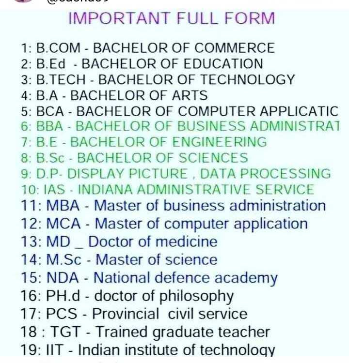 📝जॉब/एग्जाम प्रिपरेशन - IMPORTANT FULL FORM 1 : B . COM - BACHELOR OF COMMERCE 2 : B . Ed - BACHELOR OF EDUCATION 3 : B . TECH - BACHELOR OF TECHNOLOGY 4 : B . A - BACHELOR OF ARTS 5 : BCA - BACHELOR OF COMPUTER APPLICATIC 6 : BBA - BACHELOR OF BUSINESS ADMINISTRAT 7 : B . E - BACHELOR OF ENGINEERING 8 : B . Sc - BACHELOR OF SCIENCES 9 : D . P - DISPLAY PICTURE , DATA PROCESSING 10 : IAS - INDIANA ADMINISTRATIVE SERVICE 11 : MBA - Master of business administration 12 : MCA - Master of computer application 13 : MD _ Doctor of medicine 14 : M . SC - Master of science 15 : NDA - National defence academy 16 : PH . d - doctor of philosophy 17 : PCS - Provincial civil service 18 : TGT - Trained graduate teacher 19 : IIT - Indian institute of technology - ShareChat