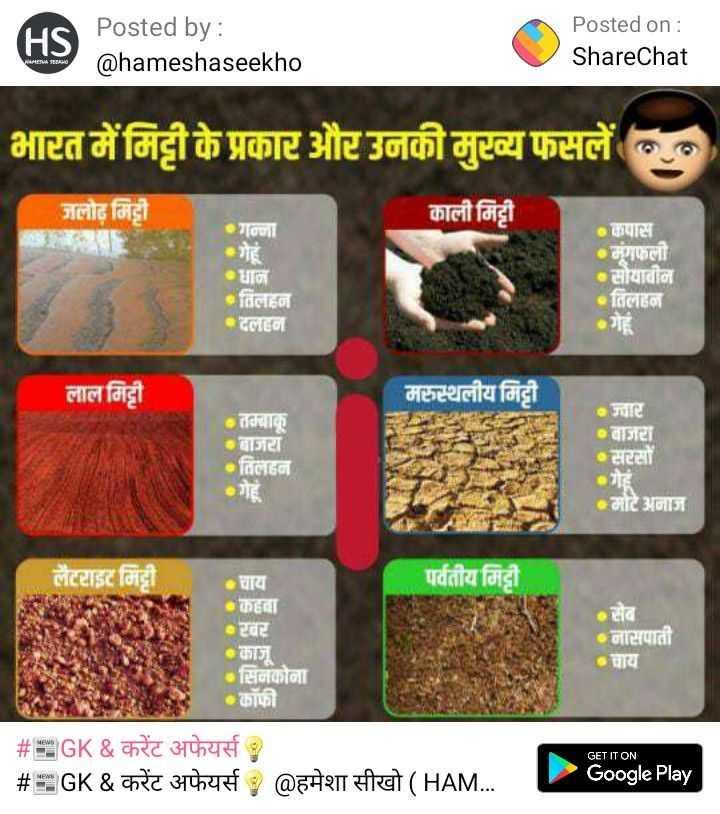 📝जॉब/एग्जाम प्रिपरेशन - HS Posted by : Posted on : ShareChat @ hameshaseekho भारत में मिट्टी के प्रकार और उनकी मुटव्य फसलें का जलोढ़ मिट्टी काली मिट्टी गन्ना गेहं धान तिलहन दलहन कपास •मुंगफली •सोयाबीन तिलहन गह लाल मिट्टी मरुस्थलीय मिट्टी तम्बाकू बाजरा तिलहन गह ज्वार बाजरा सरसों ग मोटे अनाज लैटराइट मिट्टी पर्वतीय मिट्टी चाय कहवा रखर . काज सिनकोना कॉफी सव नासपाती GET IT ON # EEGK & करेंट अफेयर्स # E GK & करेंट अफेयर्स हमेशा सीखो ( HAM . . . Google Play | - ShareChat