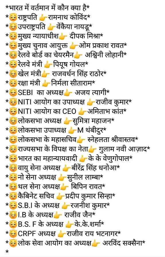 📝जॉब/एग्जाम प्रिपरेशन - * * * * * * * * * * * * * भारत में वर्तमान में कौन क्या है । * राष्ट्रपति रामनाथ कोविंद * उपराष्ट्रपति वेंकैया नायडू * मुख्य न्यायाधीश दीपक मिश्रा * मुख्य चुनाव आयुक्त ओम प्रकाश रावत ' * रेलवे बोर्ड का चेयरमैन - अश्विनी लोहानी * * रेलवे मंत्री पियूष गोयल ' * खेल मंत्री - राजवर्धन सिंह राठोर * * रक्षा मंत्री निर्मला सीताराम * * ESEBI का अध्यक्ष - अजय त्यागी * * ENITI आयोग का उपाध्यक्ष राजीव कुमार * ENITI आयोग का CEO - अमिताभ कांत ' * लोकसभा अध्यक्ष सुमित्रा महाजन * लोकसभा उपाध्यक्ष - Mथंबीदुर * * लोकसभा के महासचिव - स्नेहलता श्रीवास्तव * राज्यसभा के विपक्ष का नेता - - गुलाम नवी आज़ाद * भारत का महान्यायवादी के के वेणुगोपाल ' * वायु सेना अध्यक्ष बीरेंद्र सिंह धनोआ * नो सेना अध्यक्ष सुनील लाम्बा * थल सेना अध्यक्ष - बिपिन रावत * कैबिनेट सचिव प्रदीप कुमार सिन्हा * ES . B . I के अध्यक्ष रजनीश कुमार * SI . B के अध्यक्ष - राजीव जैन * 5B . S . F के अध्यक्ष के . के . शर्मा * * ECRPF अध्यक्ष राजीव राय भटनागर _ _ * लोक सेवा आयोग का अध्यक्ष - अरविंद सक्सैना * * * * * * * * * * * * * - ShareChat