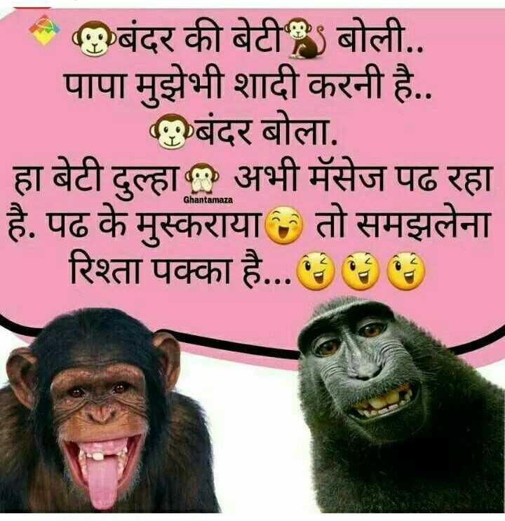 """🤣 जोक्स 🤣 - बंदर की बेटी बोली . . पापा मुझेभी शादी करनी है . . बंदर बोला . हा बेटी दुल्हा """" अभी मॅसेज पढ रहा है . पढ के मुस्कराया तो समझलेना रिश्ता पक्का है . . . ६ ६ ६ ) Ghantamaza - ShareChat"""