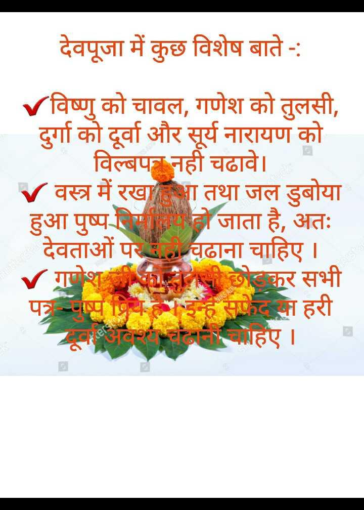 🔯ज्योतिष - देवपूजा में कुछ विशेष बाते - : V विष्णु को चावल , गणेश को तुलसी , दुर्गा को दूर्वा और सूर्य नारायण को विल्बप नही चढावे । V वस्त्र में रखा तथा जल डुबोया हुआ पुष्प लिगतिमा हो जाता है , अतः देवताओं पर . . . चढाना चाहिए । V गरोशी का टोलनी छोटकर सभी पत्र जाप नियम इन्ह सफेदन हरी अनमोहए । - ShareChat