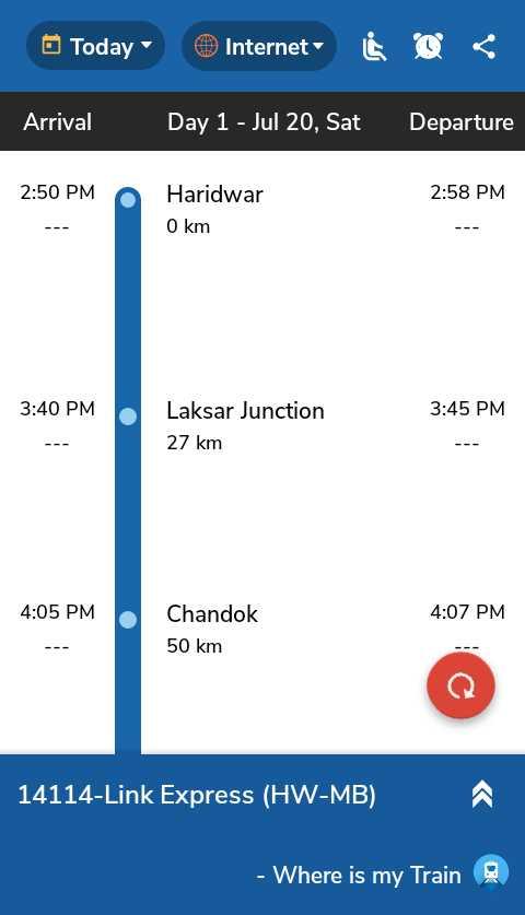 🚛ट्रक डे - Today Internet Arrival Day 1 - Jul 20 , Sat Departure 2 : 50 PM 2 : 58 PM Haridwar O km 3 : 40 PM 3 : 45 PM Laksar Junction 27 km 4 : 05 PM 4 : 07 PM Chandok 50 km 14114 - Link Express ( HW - MB ) - Where is my Train - ShareChat