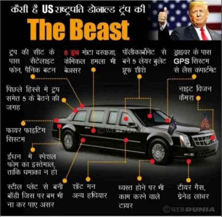 😯ट्रम्प पहुंचे भारत - कैसी है US राष्ट्रपति डोनाल्ड ट्रंप की । The Beast ट्रंप की सीट के 8 इंच मोटा दरवाजा , पॉलीकार्बोनेट से ड्राइवर के पास पास सैटेलाइट केमिकल हमला भी बने 5 लेयर बुलेट GPS सिस्टम फोन , पैनिक बटन बेअसर प्रूफ शीशे से लैस कंपार्टमेंट पिछले हिस्से में ट्रप । समेत 5 के बैठने की जगह नाइट विजन कैमरा फायर फाइटिंग सिस्टम ईधन में स्पेशल फोम का इस्तेमाल , ताकि धमाका न हो स्टील प्लेट से बनी शॉट गन बॉडी जिस पर बम भी अन्य हथियार ना कर पाए असर ' ध्वस्त होने पर भी टीयर गैस , काम करने वाले ग्रेनेड लांचर टायर ©WEBDUNIA - ShareChat