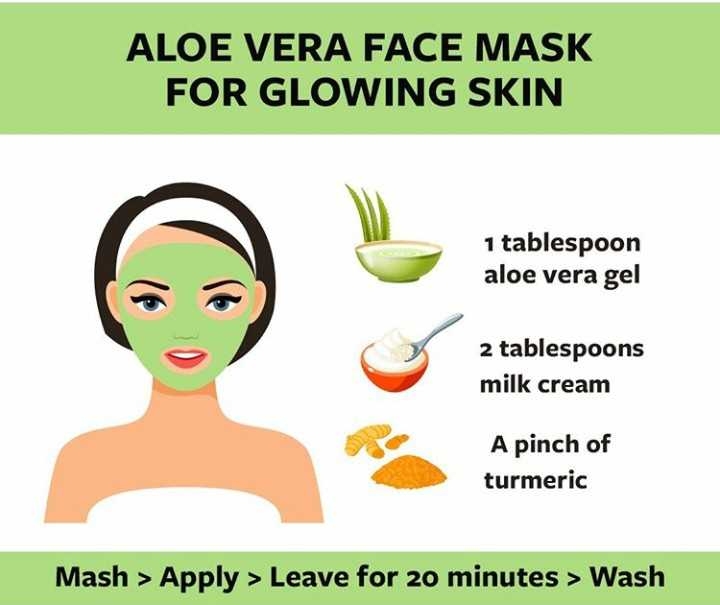🌼त्वचा की सुरक्षा - ALOE VERA FACE MASK FOR GLOWING SKIN 1 tablespoon aloe vera gel 2 tablespoons milk cream A pinch of turmeric Mash > Apply > Leave for 20 minutes > Wash - ShareChat