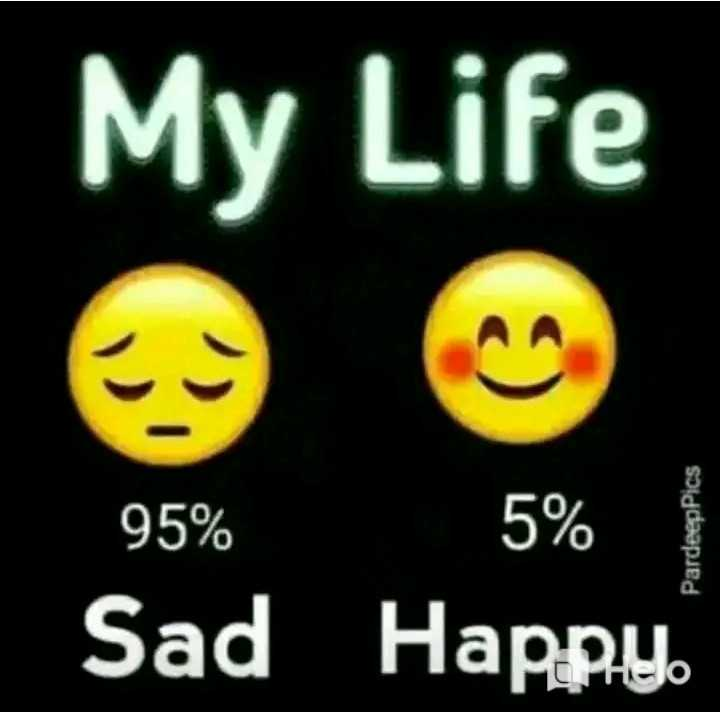 💔  दर्द आली शायरी - My Life 95 % 5 % Sad Happy PardeepPics - ShareChat