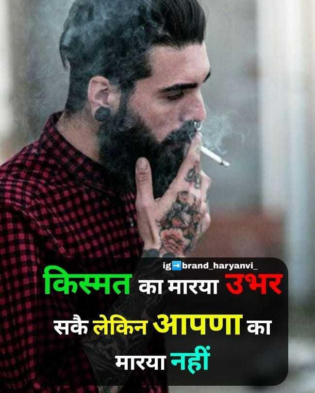 दिल के जज्बात - ig brand _ haryanvi _ किस्मत का मारया उभर सकै लेकिन आपणा का   मारया नहीं - ShareChat