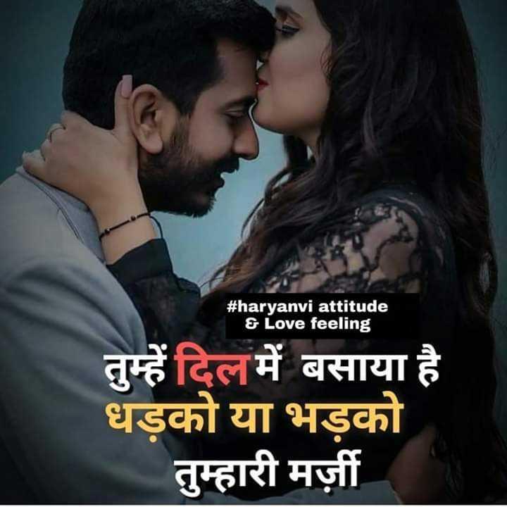 दिल के जज्बात - # haryanvi attitude & Love feeling तुम्हें दिल में बसाया है धड़को या भड़को तुम्हारी मर्जी - ShareChat