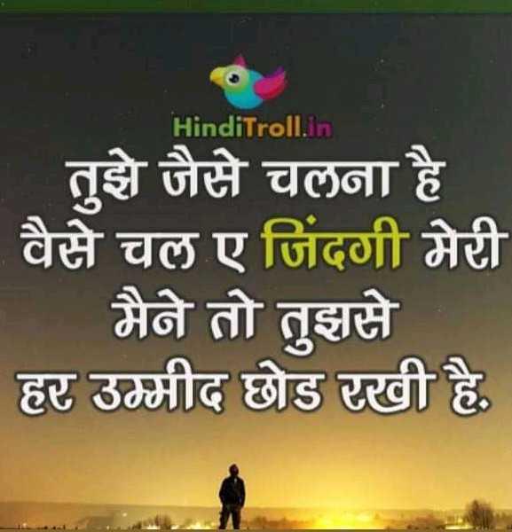 दिल टूटण के बाद - HindiTroll . in तुझे जैसे चलना है | वैसे चल ए जिंदगी मेरी | मैने तो तुझसे हर उम्मीद छोड़ रखी है , - ShareChat
