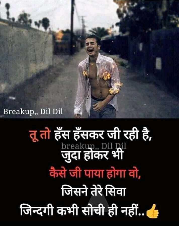 दिल टूटण के बाद - Breakup , , Dil Dil । breakup . , Dil Dil ' तू तो हँस हँसकर जी रही है , जुदा होकर भी कैसे जी पाया होगा वो , | जिसने तेरे सिवा जिन्दगी कभी सोची ही नहीं . . - ShareChat