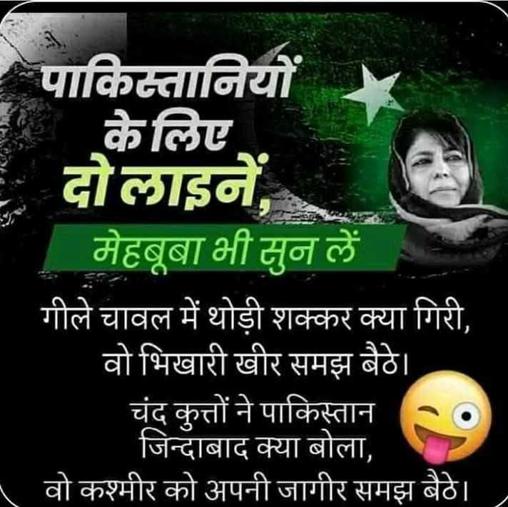 🇮🇳देशभक्ति स्टेटस - पाकिस्तानियों केलिए दोलाइने , मेहबूबा भी सुन लें गीले चावल में थोड़ी शक्कर क्या गिरी , वो भिखारी खीर समझ बैठे । चंद कुत्तों ने पाकिस्तान . . जिन्दाबाद क्या बोला , वो कश्मीर को अपनी जागीर समझ बैठे । । - ShareChat