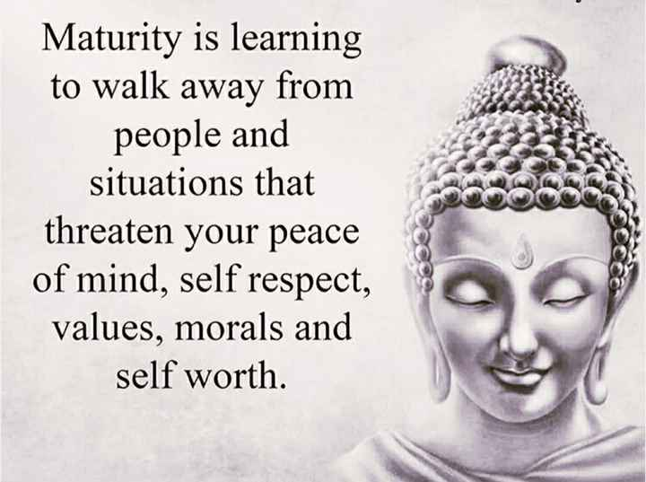 🙏 नमो बुद्धाय 🙏 - Maturity is learning to walk away from people and situations that threaten your peace of mind , self respect , values , morals and self worth . - ShareChat