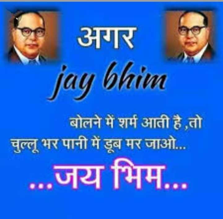 🙏 नमो बुद्धाय 🙏 - अगर jay bhim बोलने में शर्म आती है , तो चुल्लू भर पानी में डूब मर जाओ . . . . . . जय भिम . . . - ShareChat