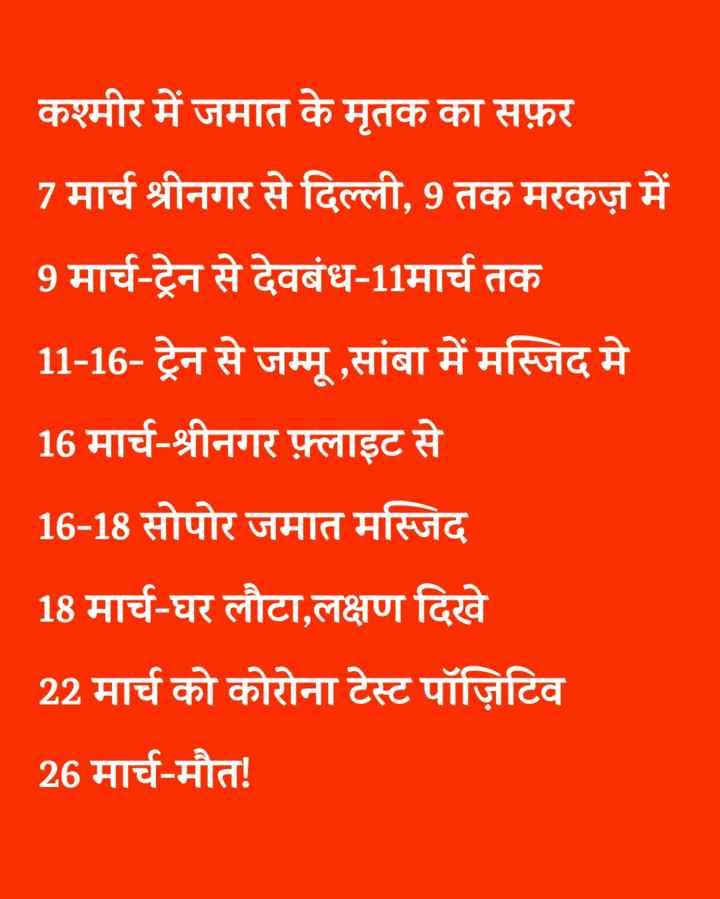 😱निजामुद्दीन : 24 नए मामले - कश्मीर में जमात के मृतक का सफ़र 7 मार्च श्रीनगर से दिल्ली , 9 तक मरकज़ में 9 मार्च - ट्रेन से देवबंध - 11मार्च तक 11 - 16 - ट्रेन से जम्मू , सांबा में मस्जिद मे 16 मार्च - श्रीनगर फ़्लाइट से 16 - 18 सोपोर जमात मस्जिद 18 मार्च - घर लौटा , लक्षण दिखे 22 मार्च को कोरोना टेस्ट पॉज़िटिव 26 मार्च - मौत ! - ShareChat