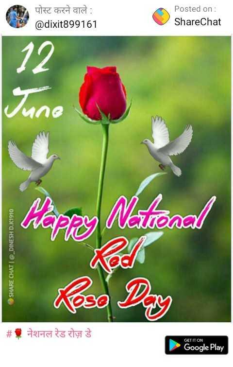 🌹 नेशनल रेड रोज़ डे - पोस्ट करने वाले : @ dixit899161 Posted on : ShareChat Pilapay National SHARE CHAT | @ _ DINESH D . K1910 # 1 नेशनल रेड रोज़ डे GET IT ON Google Play - ShareChat