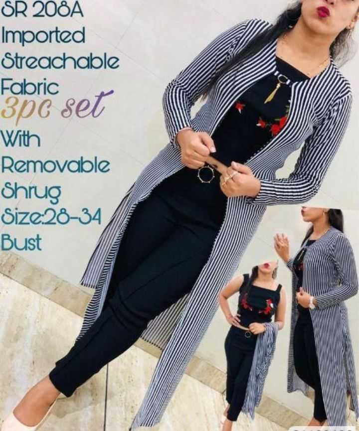 🥻 पार्टी ड्रेस🤵 - SR 2081 Imported Streachable Fabric 3pc set With Removable Shrug Size28 - 34 Bust - ShareChat