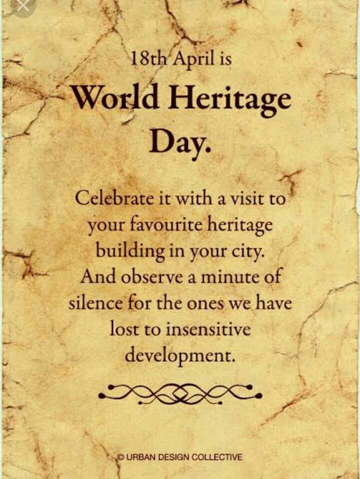 प्राचीन भारतीय सिक्के - 18th April is » World Heritage Day . Celebrate it with a visit to your favourite heritage building in your city . And observe a minute of silence for the ones we have lost to insensitive development . URBAN DESIGN COLLECTIVE - ShareChat