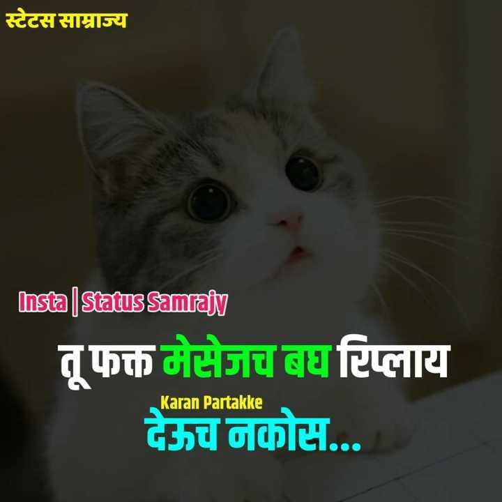 💗प्रेम / मैत्री स्टेट्स - साम्राज्य Insta | Status Samrajy तू फक्त मेसेजच बघ रिप्लाय देऊच नकोस . . . Karan Partakke - ShareChat