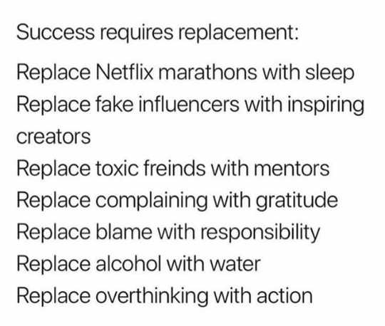 🙏प्रेरणादायक / सुविचार - Success requires replacement : Replace Netflix marathons with sleep Replace fake influencers with inspiring creators Replace toxic freinds with mentors Replace complaining with gratitude Replace blame with responsibility Replace alcohol with water Replace overthinking with action - ShareChat