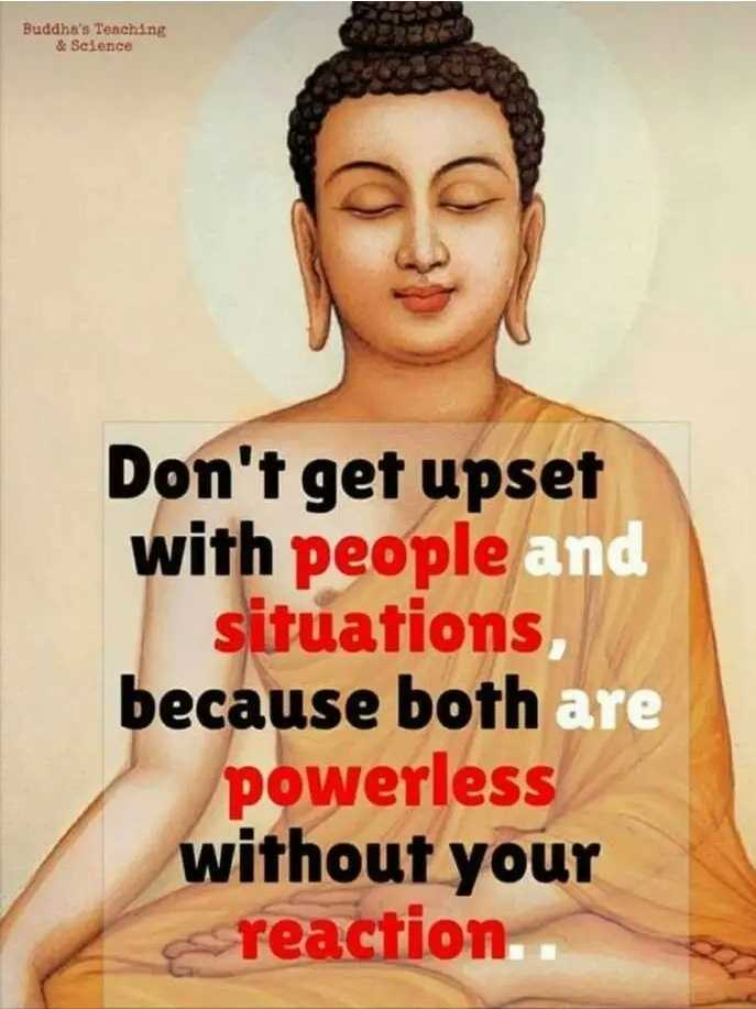 🙏प्रेरणादायक / सुविचार - Buddha ' s Teaching & Science Don ' t get upset with people and situations , because both are powerless without your reaction - ShareChat
