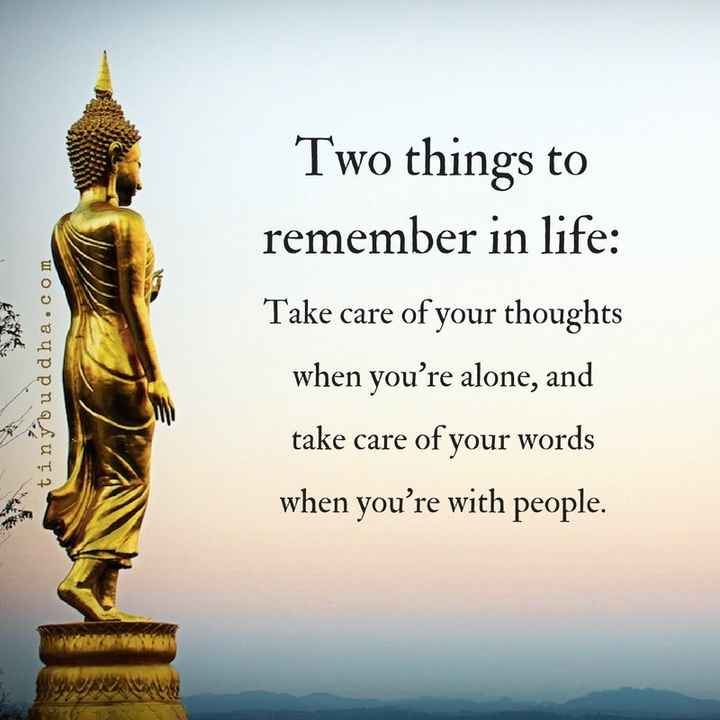 प्रेरणा - Two things to remember in life : tinybuddha . com Take care of your thoughts when you ' re alone , and take care of your words when you ' re with people . - ShareChat