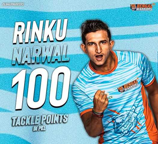 🤼 प्रो कबड्डी लीग 2019 - FAAMARWARRIORS BENGAL V WARRIORS RINKU NARWAL 100 TACKLE POINTS V WARRIORS - ShareChat