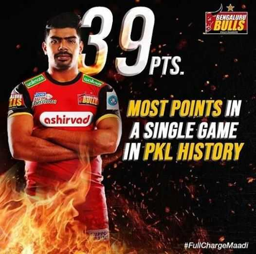 🤼 प्रो कबड्डी लीग 2019 - BENGALURU BULLS 039 . 276 wolno cate ve BUTTE ashirvad MOST POINTS IN A SINGLE GAME IN PKL HISTORY # FullChargeMaadi - ShareChat