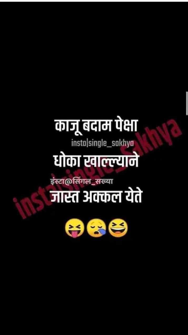 😹फनी जोक्स - काजू बदाम पेक्षा insta | single _ sakhya धोका टवाल्ल्याने इंस्टा @ सिंगल सख्या जास्त अक्कल येते | - ShareChat