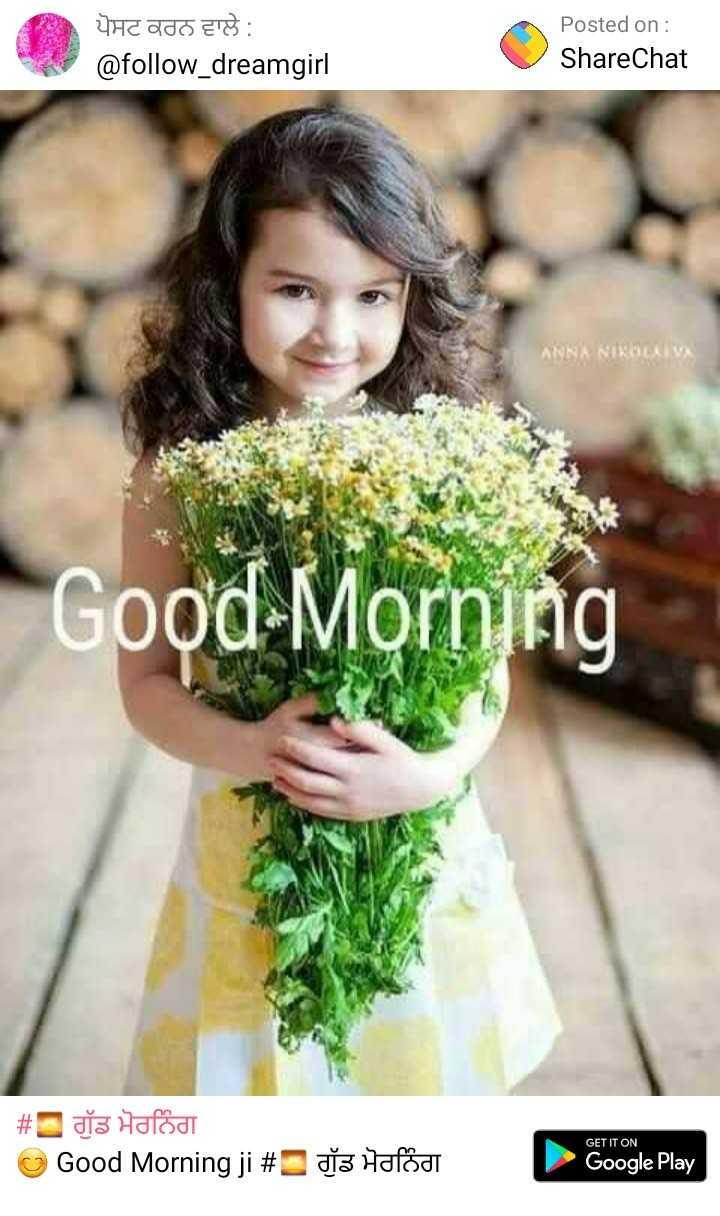 💐बधाई और शुभकामनाएं - ਪੋਸਟ ਕਰਨ ਵਾਲੇ : @ follow _ dreamgirl Posted on : ShareChat ANNA NIKOLIVA Good Morning # Hafodt Good Morning ji # GET IT ON dia Hafodi Google Play - ShareChat