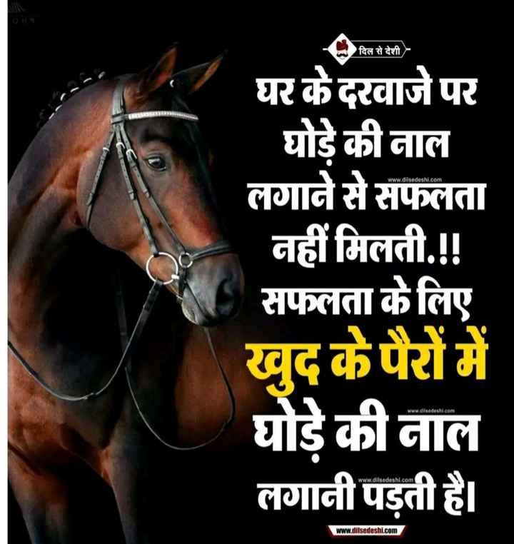 बात पते की - 9 दिल से देशी दिल से देशी N घर के दरवाजे पर घोड़े की नाल लगाने से सफलता नहीं मिलती . ! ! सफलता के लिए खुद के पैरों में घोड़े की नाल लगानी पड़ती है । www . dilsedeshi . com www . dilsedeshi . com www . dilsedeshi . com - ShareChat
