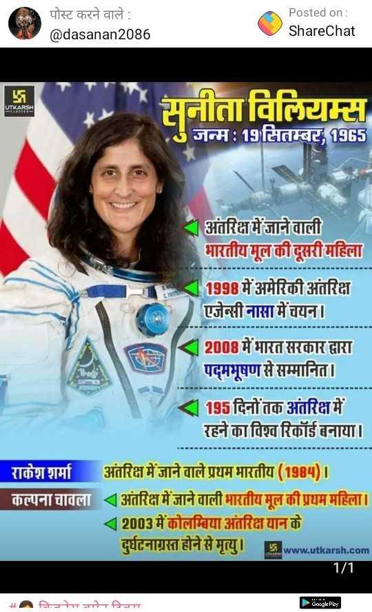 👩 बिज़नेस वुमेन दिवस - पोस्ट करने वाले : @ dasanan2086 Posted on : ShareChat UTKARSH सनीता विलियम्स जन्म : 19 सितम्बर , 1965 अंतरिक्ष में जाने वाली भारतीय मूल की दूसरी महिला 1 1998 में अमेरिकी अंतरिक्ष एजेन्सी नासा में चयन । 12008 में भारत सरकार द्वारा पद्मभूषण से सम्मानित । 1195 दिनों तक अंतरिक्ष में रहने का विश्व रिकॉर्ड बनाया । राकेश शर्मा कल्पना चावला अंतरिक्ष में जाने वाले प्रथम भारतीय ( 1984 ) । अंतरिक्ष में जाने वाली भारतीय मूल की प्रथम महिला । 12003 में कोलम्बिया अंतरिक्ष यान के दुर्घटनाग्रस्त होने से मृत्यु । www . utkarsh . com 1 / 1 Google Play - ShareChat
