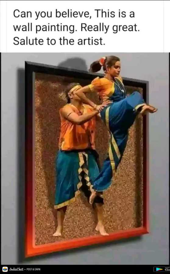 👌 बेस्ट आर्ट - Can you believe , This is a wall painting . Really great . Salute to the artist . IndiaChat - POST & EARN - ShareChat