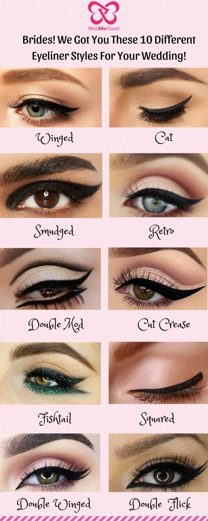 👀ब्यूटीफुल आई लाइनर - WedMeGood Brides ! We Got You These 10 Different Eyeliner Styles For Your Wedding ! Winged Cat Smudged Retro Double Med Cut Crease Fishtail Squared Double Winged Double Flick - ShareChat