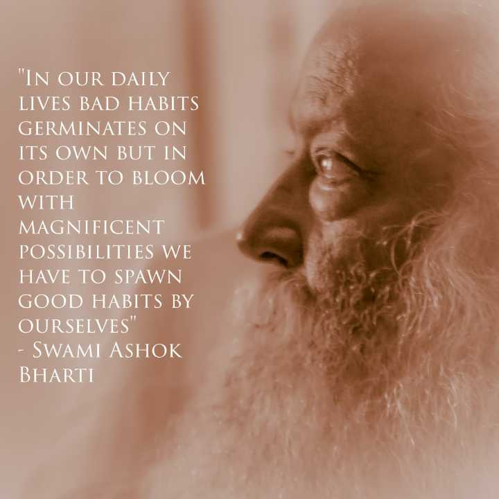 🙏 भक्ति - IN OUR DAILY LIVES BAD HABITS GERMINATES ON ITS OWN BUT IN ORDER TO BLOOM WITH MAGNIFICENT POSSIBILITIES WE HAVE TO SPAWN GOOD HABITS BY OURSELVES - SWAMI ASHOK BHARTI - ShareChat