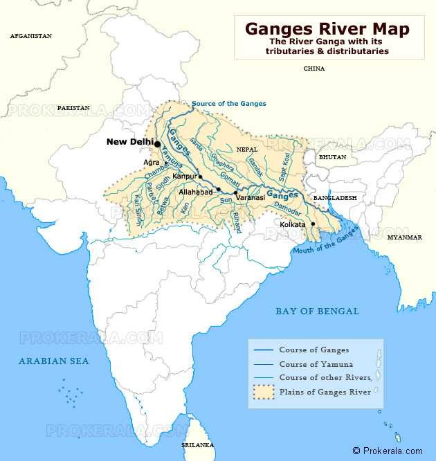 🌊भारत की नदियां - AFGANISTAN Ganges River Map The River Ganga with its tributaries & distributaries CHINA Source of the Ganges PROK PAKISTAN _ A . COM sarda Canges res Craghara Gar G omatilhas Damod BHUTAN Gandak Sapt Kosi Allahabad Varanasi Ganges BANGLADESH Kali Sing amodar Kolkata NO cargo Mouth of the of the Ganges BAY OF BENGAL PROKERATA . COM ARABIAN SEA Course of Ganges Course of Yamuna Course of other Rivers Plains of Ganges River PROKEE © Prokerala . com - ShareChat