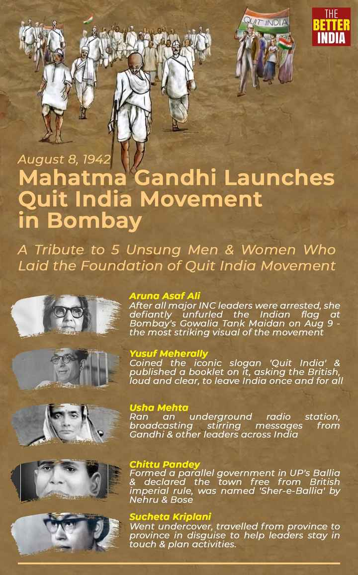 🇮🇳 भारत छोड़ो आंदोलन - THE QUIT INDIA 3 . Baa se a BETTER INDIA EN August 8 , 1942 Mahatma Gandhi Launches Quit India Movement in Bombay A Tribute to 5 Unsung Men & Women Who Laid the Foundation of Quit India Movement Aruna Asaf Ali After all major INC leaders were arrested , she defiantly unfurled the Indian flag at Bombay ' s Gowalia Tank Maidan on Aug 9 - the most striking visual of the movement Yusuf Meherally Coined the iconic slogan ' Quit India ' & published a booklet on it , asking the British , loud and clear , to leave India once and for all Usha Mehta Ran an underground radio station , broadcasting stirring messages from Gandhi & other leaders across India Chittu Pandey Formed a parallel government in UP ' s Ballia & declared the town free from British imperial rule , was named ' Sher - e - Ballia ' by Nehru & Bose R . Sucheta Kriplani Went undercover , travelled from province to province in disguise to help leaders stay in touch & plan activities . - ShareChat