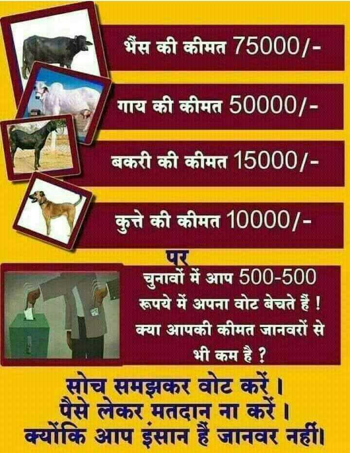 🙏🏼भारत बोले मोदी मोदी - भैंस की कीमत 75000 / गाय की कीमत 50000 / बकरी की कीमत 15000 / कुत्ते की कीमत 10000 / चुनावों में आप 500 - 500 रूपये में अपना वोट बेचते हैं ! क्या आपकी कीमत जानवरों से भी कम है ? सोच समझकर वोट करें । पैसे लेकर मतदान ना करें । क्योंकि आप इंसान हैं जानवर नहीं । - ShareChat