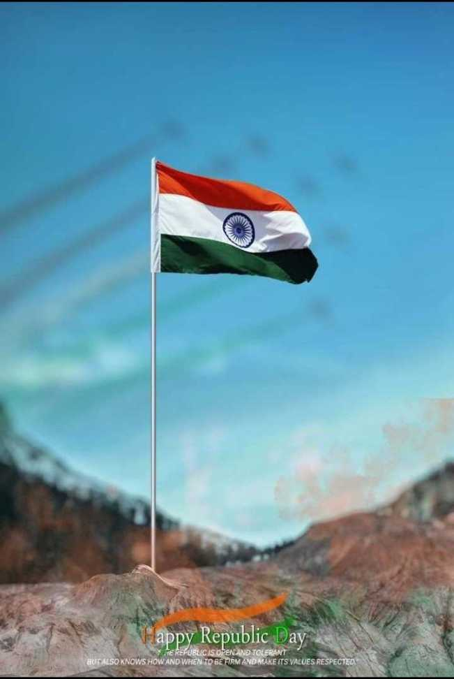 भारतीय संविधान - Vappy Republic Day TE REPUBLIC IS OPEN AND TOLERANT BUT ALSO KNOWS HOW AND WHEN TO BE FIRM AND MAKE ITS VALUES RESPECTED - ShareChat