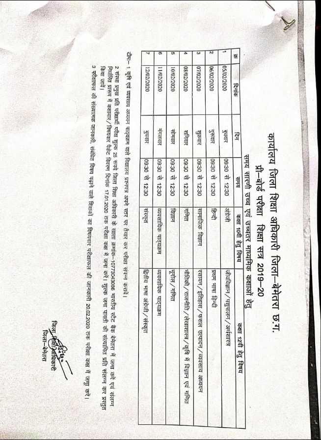🤚🏻भारत 2020 प्रतिज्ञा - म दिनांक 05 / 02 / 2020 06 / 02 / 2020 कार्यालय जिला शिक्षा अधिकारी जिला - बेमेतरा छ . ग . प्री - बोर्ड परीक्षा शिक्षा सत्र 2019 - 20 समय सारणी उच्च एवं उच्चतर माध्यमिक कक्षाओं हेतु दिन समय कक्षा 10वी हेतु विषय कक्षा 12वी हेतु विषय बुधवार 109 : 30 से 12 : 30 अंग्रेजी जीवविज्ञान / पशुपालन / अर्थशास्त्र गुरूवार 09 : 30 से 12 : 30 हिन्दी प्रथम भाषा हिन्दी शुक्रवार 09 : 30 से 12 : 30सामाजिक विज्ञान रसायन / इतिहास / फसल उत्पादन / व्यवसाय अध्ययन शनिवार 09 : 30 से 12 : 30 गणित भौतिकी / राजनीति / लेखाशास्त्र / कृषि में विज्ञान एवं गणित सोमवार 09 : 30 से 12 : 30 विज्ञान भूगोल / गणित मंगलवार 09 : 30 से 12 : 30 व्यवसायिक पाठ्यक्रम व्यवसायिक पाठ्यक्रम बुधवार 09 : 30 से 12 : 30 संस्कृत द्वितीय भाषा अंग्रेजी / संस्कृत 07 / 02 / 2020 108 / 02 / 2020 10 / 02 / 2020   11 / 02 / 2020   12 / 02 / 2020 टीप : - 1 कृषि एवं व्यवसाय अध्ययन पाठ्यक्रम वाले विद्यालय प्रश्नपत्र अपने स्तर पर तैयार कर परीक्षा संपन्न करावें । 2 संस्था प्रमुख प्रति परीक्षार्थी परीक्ष शुल्क 25 रूपये जिला शिक्षा अधिकारी के खाता क्रमांक - 10773043086 भारतीय स्टेट बैंक बेमेतरा में जमा करें एवं संलग्न निर्धारित प्रारूप में कक्षावार / विषयवार पैकेट विवरण दिनांक 17 . 01 . 2020 तक परीक्षा कक्ष में जमा करें । शुल्क जमा पावती की संत्यापित प्रति संलग्न कर प्रस्तुत किया जावें । 3 परीक्षाफल की संख्यात्मक जानकारी , संबंधित विषय पढ़ाने वाले शिक्षकों का विषयवार परीक्षाफल की जानकारी 20 . 02 . 2020 तक परीक्षा कक्ष में जमा कर । जिला शिक्षा अधिकारी जिला - बेमेतरा जिला सीए - ShareChat