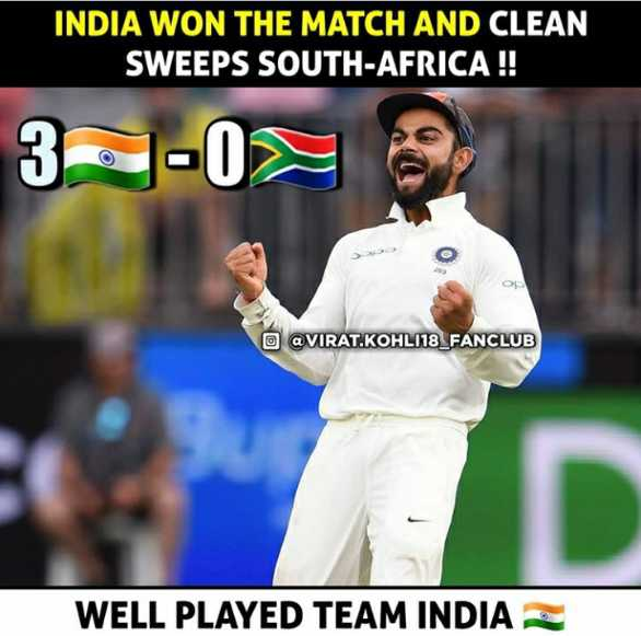🏏भारत vs द.आफ्रिका Live - INDIA WON THE MATCH AND CLEAN SWEEPS SOUTH AFRICA ! ! 3 - 08 O VIRAT . KOHL118 _ FANCLUB WELL PLAYED TEAM INDIA I - ShareChat
