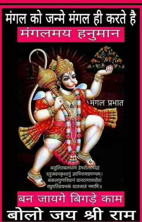 🌺 मंदिर के दर्शन - मंगल को जन्मे मंगल ही करते है मंगलमय हनुमान मंगल प्रभात ASTHAN अतुलितबलधामं हेमशैलाभदेह दनुजवनकृशानुं ज्ञानिनामग्रगण्यम् । सकलगुणनिधानं वानराणामधीशं रघुपतिप्रयभक्तं वातजातं नमामि । । बन जायगे बिगड़े काम बोलो जय श्री राम - ShareChat